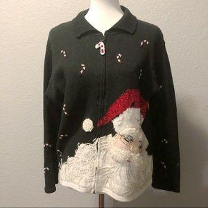 Vintage Santa Clause Christmas Sweater Sz Lg